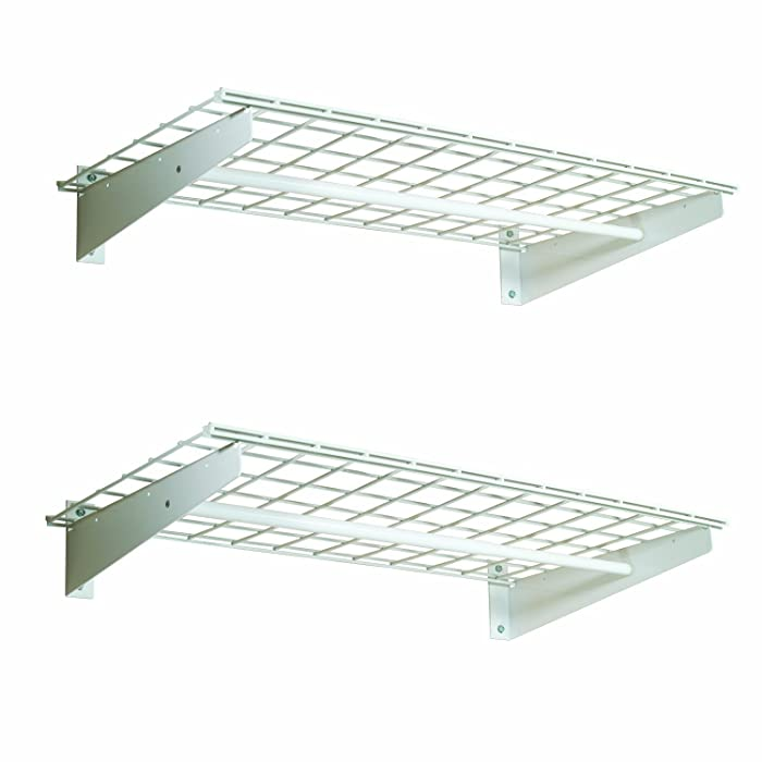 HyLoft 777 36-by-18-Inch Wall Shelf with Hanging Rod, 2-Pack