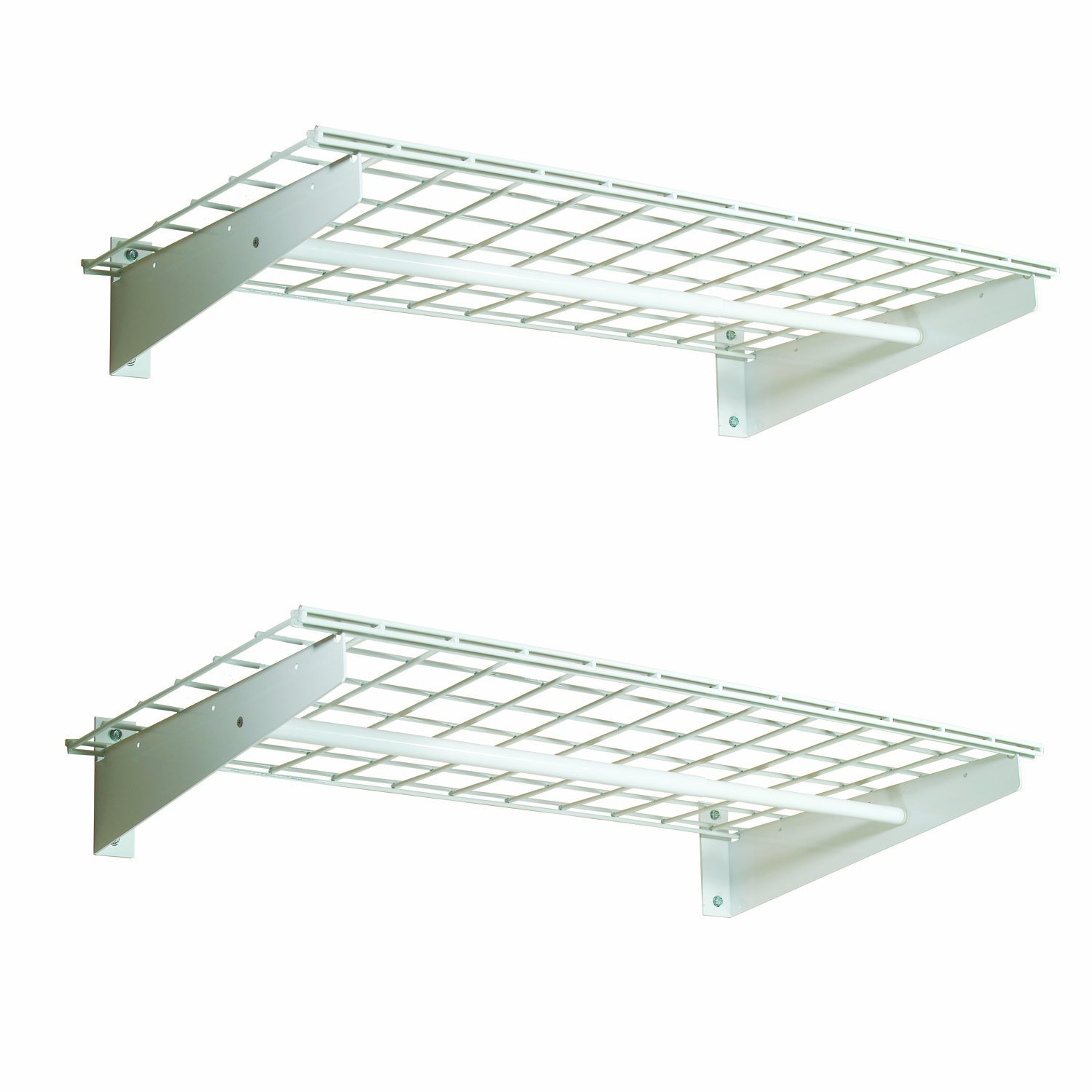 HyLoft 00777 36-by-18-Inch Wall Shelf with Hanging Rod, 2-Pack by HyLoft