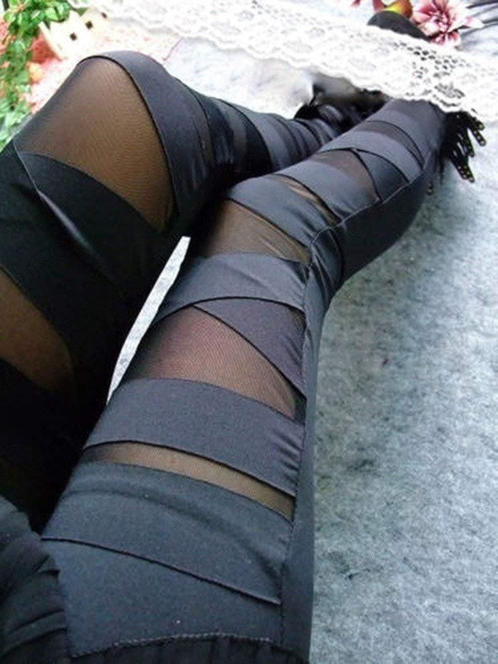 Huixin Leggings Donna A Vita Alta Leggings Bandage Jeggings Slim Fit Donna Net Optics Gothic Treggings Plain Skinny Pants Modern
