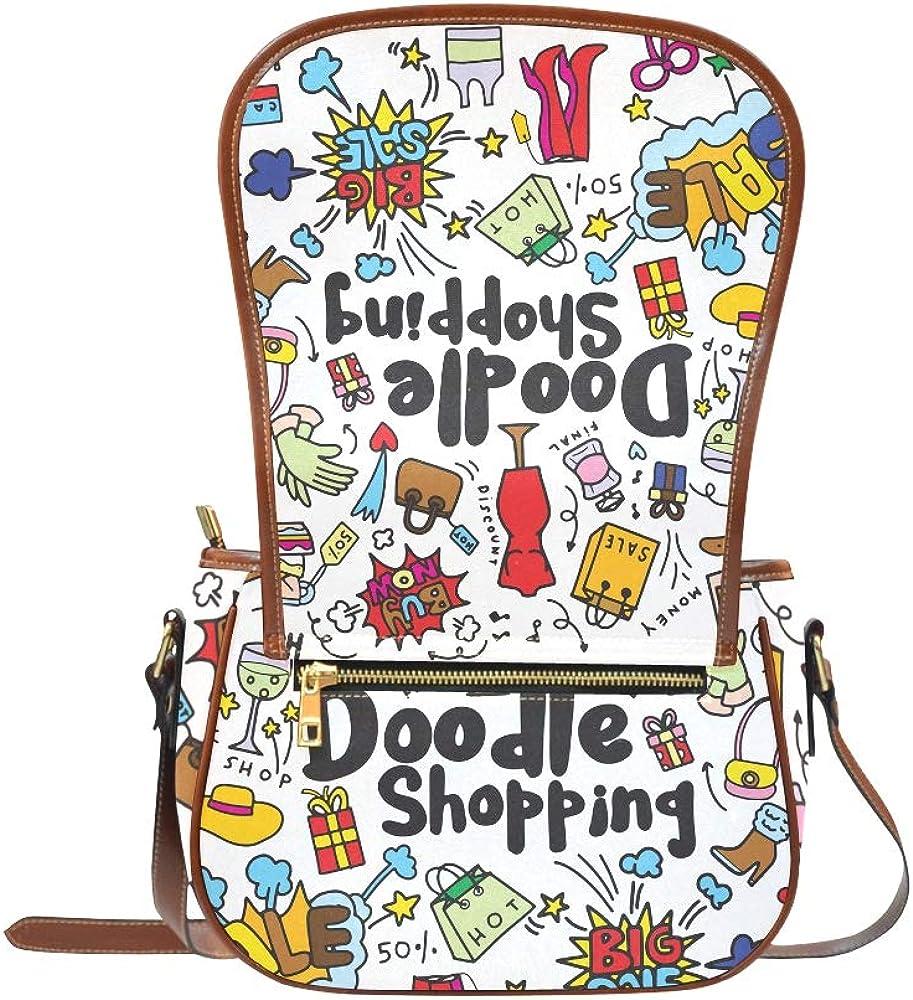 Colorful Doodle On Paper Girl Shoulder Bag Flap With Magnetic Snap Printed Womens Saddle Bag Travel Shoulder Bags