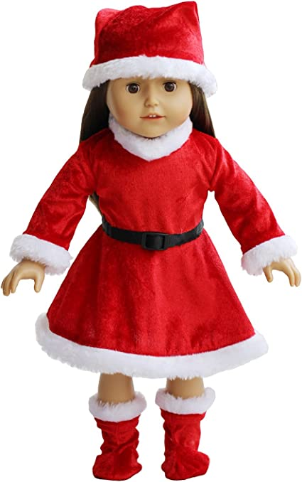 Fits18 inches American Girl fashion Doll Clothes Christmas style Clothes and hat
