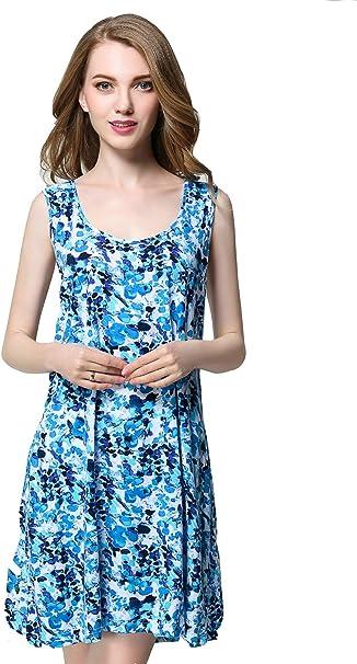 Pijama Mujer Verano Algodon Sin Mangas Vestido De Dormir Color ...