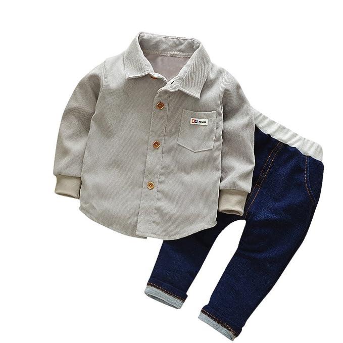 YanHoo Ropa Recién Nacidos Camiseta de Manga Larga de Pana bebé + pantalón Vaquero Bebés bebés niños niñas Camisa sólida Tops Pantalones de Mezclilla 2pcs ...