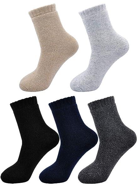 PUTUO Calcetines Invierno Hombres Calcetines Térmicos Coloridos, Hombres Calientes Calcetines de Lana Gruesa, 5 pares: Amazon.es: Ropa y accesorios