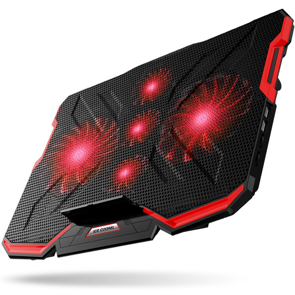 5 Fans Laptop Cooler, Portable Ultra-Slim Cooling Pad, with Red LED Light, Dual USB 2.0 Ports, Adjustable Mount Stand, Super Quiet and Strong Wind Speed Designed for Gamers and Office