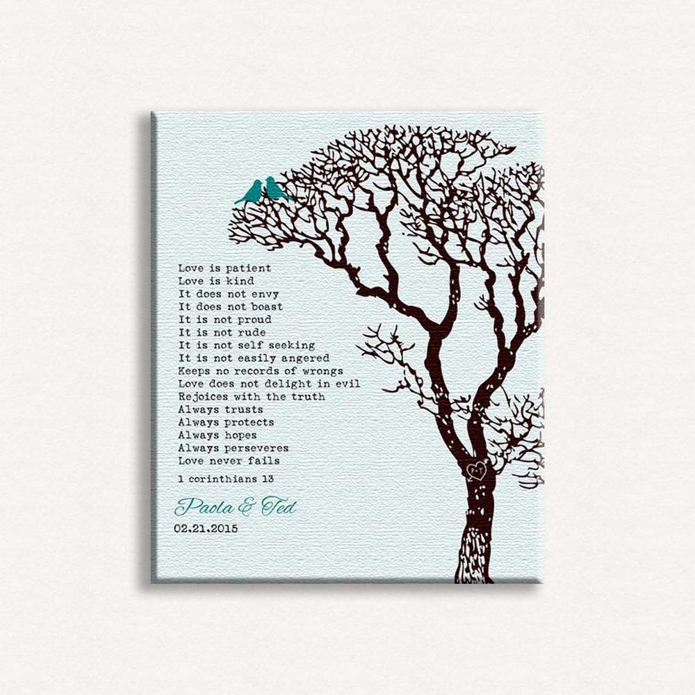b4c0daadab8 Amazon.com: Personalized Gift for Couple Corinthians Love is Patient Teal  and Brown - 8x10 Unframed Paper Art Print: Posters & Prints