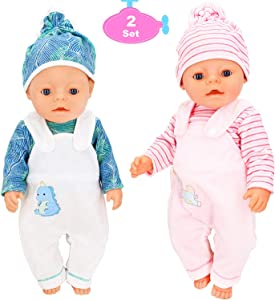 KUDES 6Pcs 16-18 Inch Doll Clothes Outfits with Hats for 18 Inch American Girl Doll Clothes, 43 cm Newborn Baby Doll, 15 inch Bitty Baby Doll (Green+Pink)