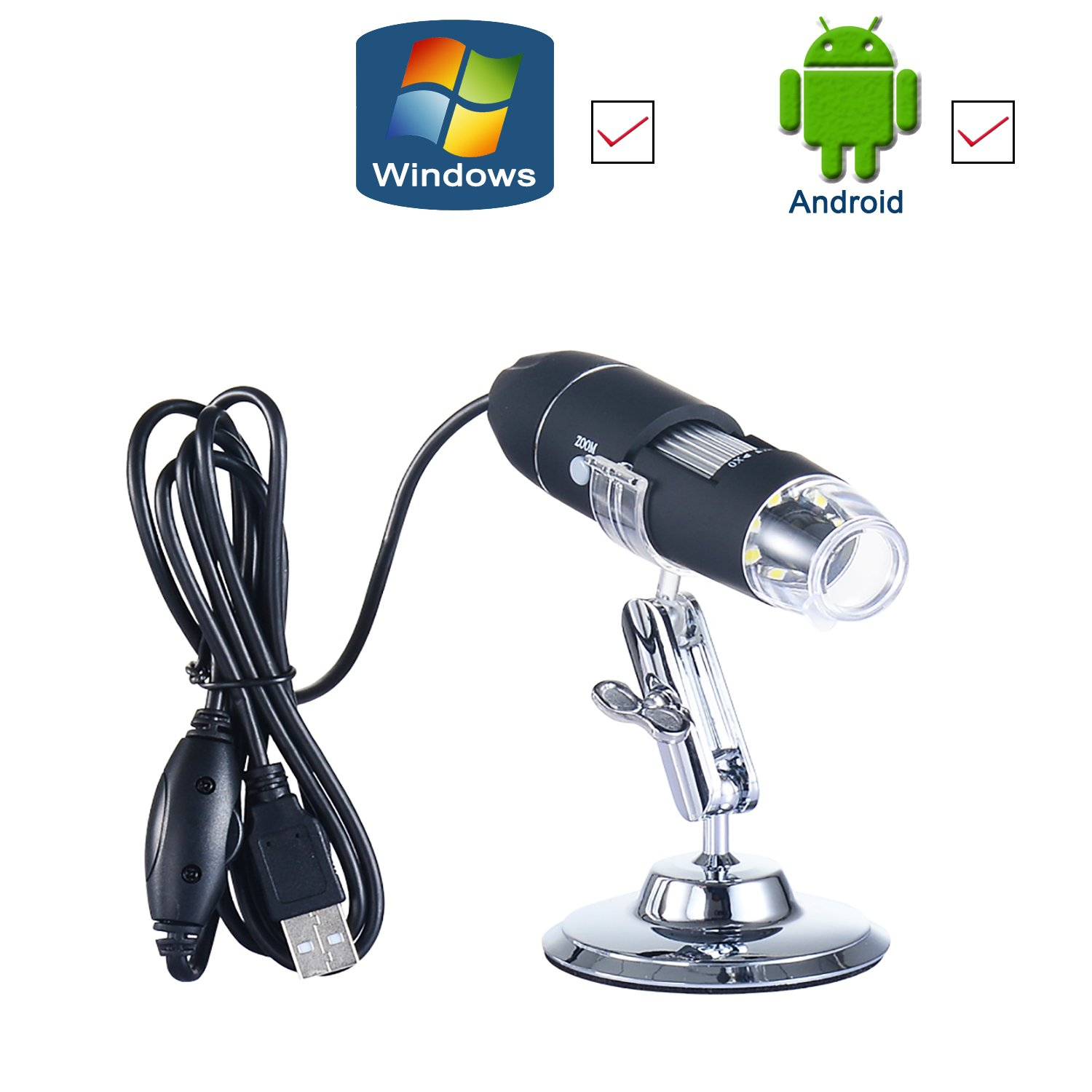 USB Digital Microscope- 1000X Magnification Endoscope- Electronic Magnifier- 2.0MP HD Zoom Lens Camera (8-LED) Windows-Android-Vista-Linux(OTG Enclosed)