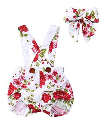 f11a999c21c Etbotu Toddler Baby Girls Rose Floral Overall Sling Short Pants and  Headband Outfits  Amazon.co.uk  Clothing