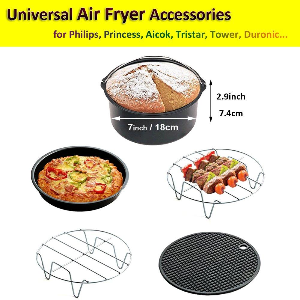 Universal Accesorios para Freidora Compatibles con Philips Princess Aicok Tristar 3L y Arriba 3.7QT / 5.3QT / 5.8QT - Cake Barril, Pizza Pan, Grills, ...