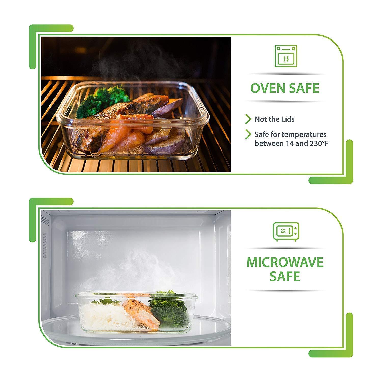 ideale per controllare le porzioni contenitori ermetici per il pranzo per casa o lavoro contenitori per alimenti in vetro con coperchi senza BPA Contenitore in vetro con coperchio