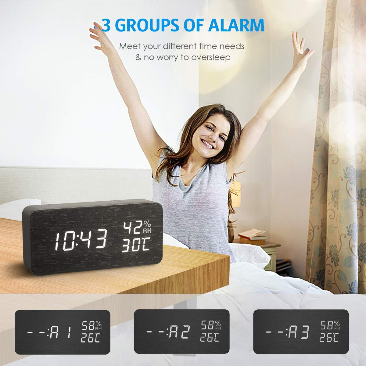 AMIR Alarm Clock, Wooden Digital Multi-Function Modern Cube LED Light, Smart Voice-Activated with 3 Alarm Sounds, Display Date Temperature & Humidity for Home, Kitchen, Bedroom (Black) by AMIR (Image #5)