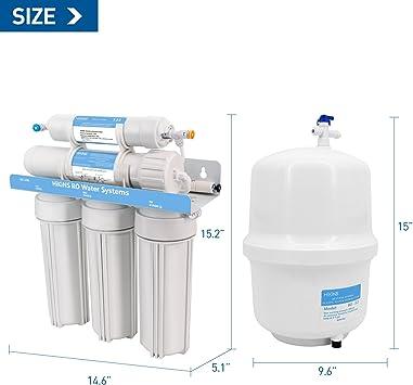 HiKiNS Sistema de filtración de Agua de ósmosis inversa RO-125G Sistema de 5 etapas para Beber en casa con Gran Flujo de Membrana de 125 GPD y Ahorro de Agua [Clase de