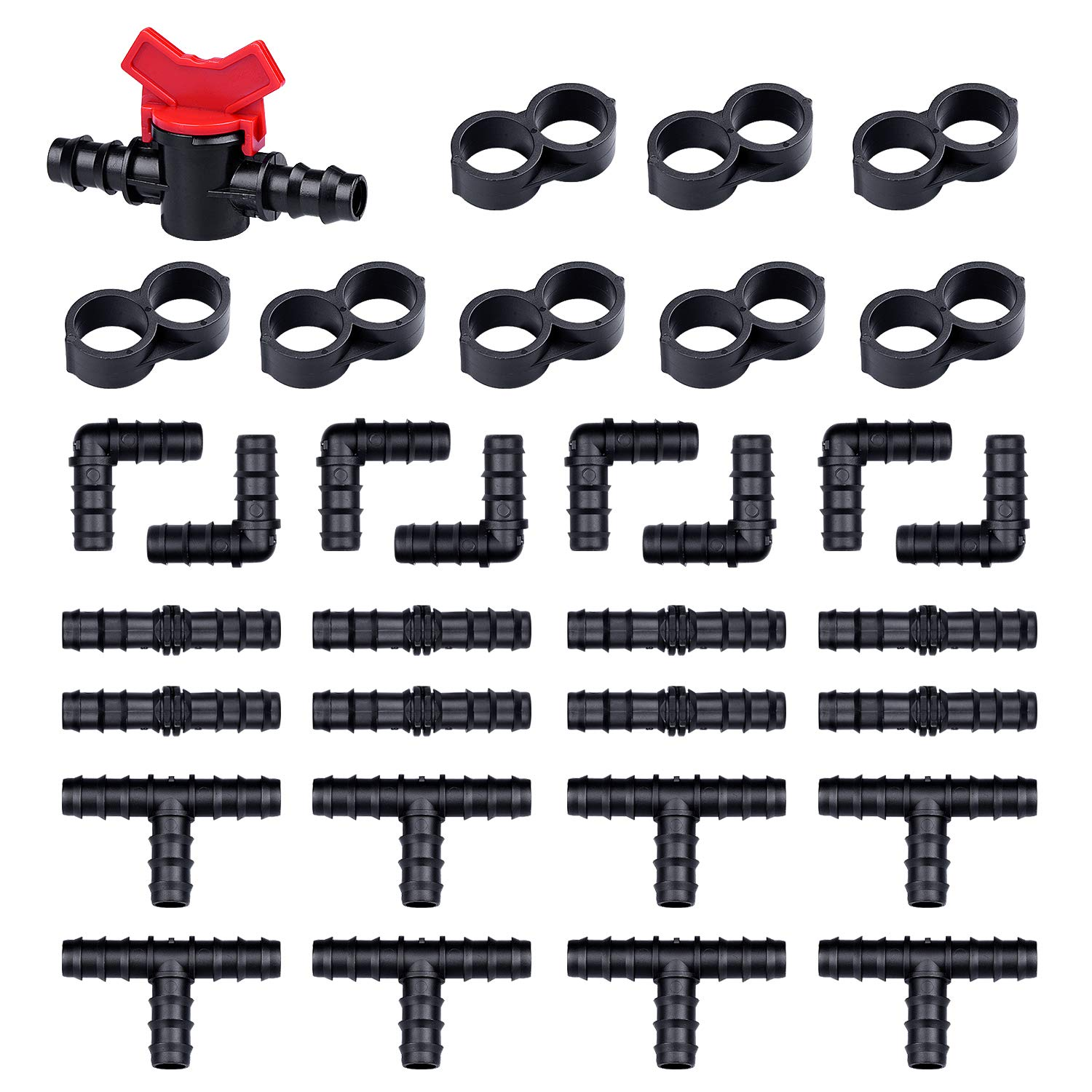 HIRALIY Drip Irrigation Fittings 1/2 InchTubing 33 Piece Set - 1 Switch Valve, 8 Tees, 8 Couplings, 8 Elbows, 8 End Cap Plugs- Barbed Connectors and Compatible Drip or Sprinkler Systems by HIRALIY
