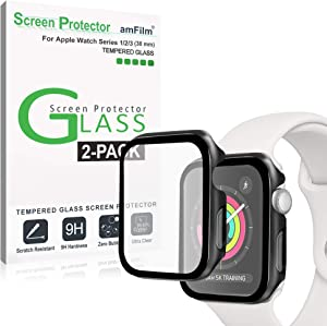 amFilm Case with Built-in Tempered Glass Screen Protector Compatible with Apple Watch Series 3/2/1 (38mm), 2 Pack