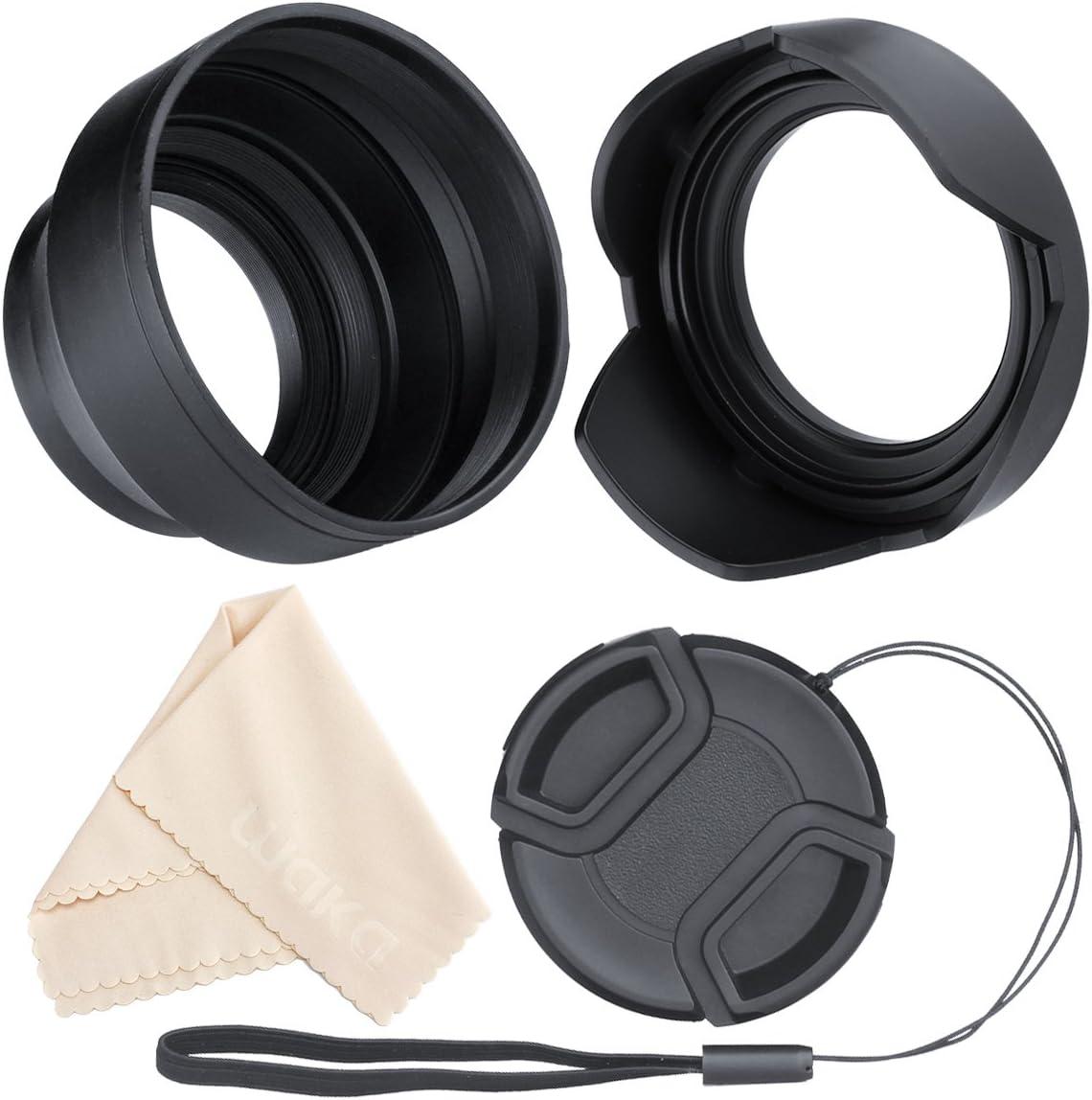 Microfiber Cleaning Cloth. 55mm + Lens Cap Holder Nikon D3500 Lens Cap Center Pinch