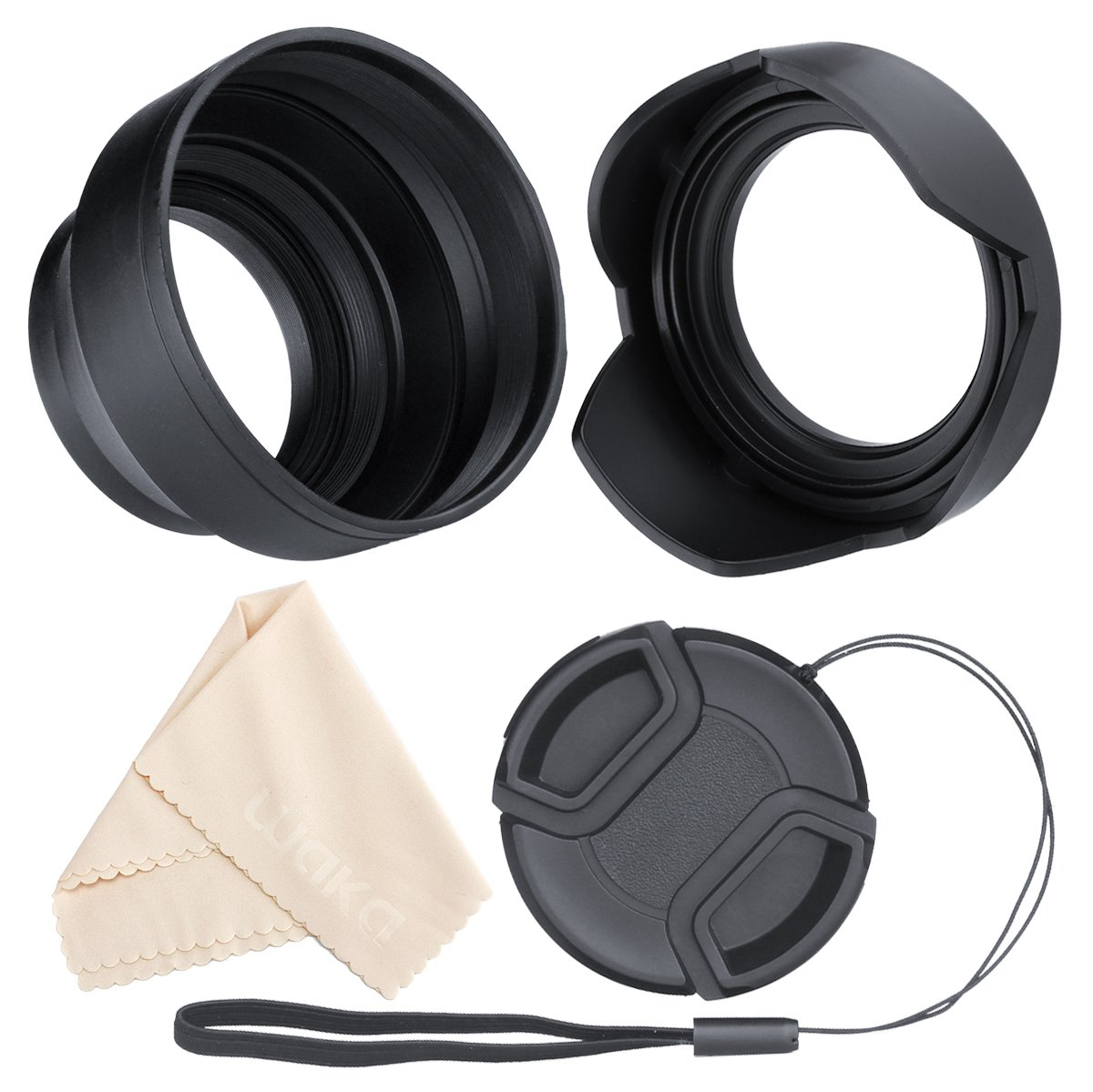 waka Lens Hood, 55mm Camera Lens Hood Set, Reversible Tulip Flower + 3 Stages Collapsible Rubber Lens Hood + Center Pinch Lens Cap with Cap Keeper Leash + Microfiber Cleaning Cloth by waka