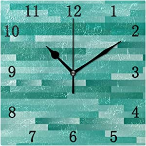 One Bear Vintage Teal Square Wall Clock Decorative, Retro Turquoise Green Wood Texture Silent Non Ticking Battery Operated Quiet Desk Clock for Kitchen Home Office School 7.9 Inch