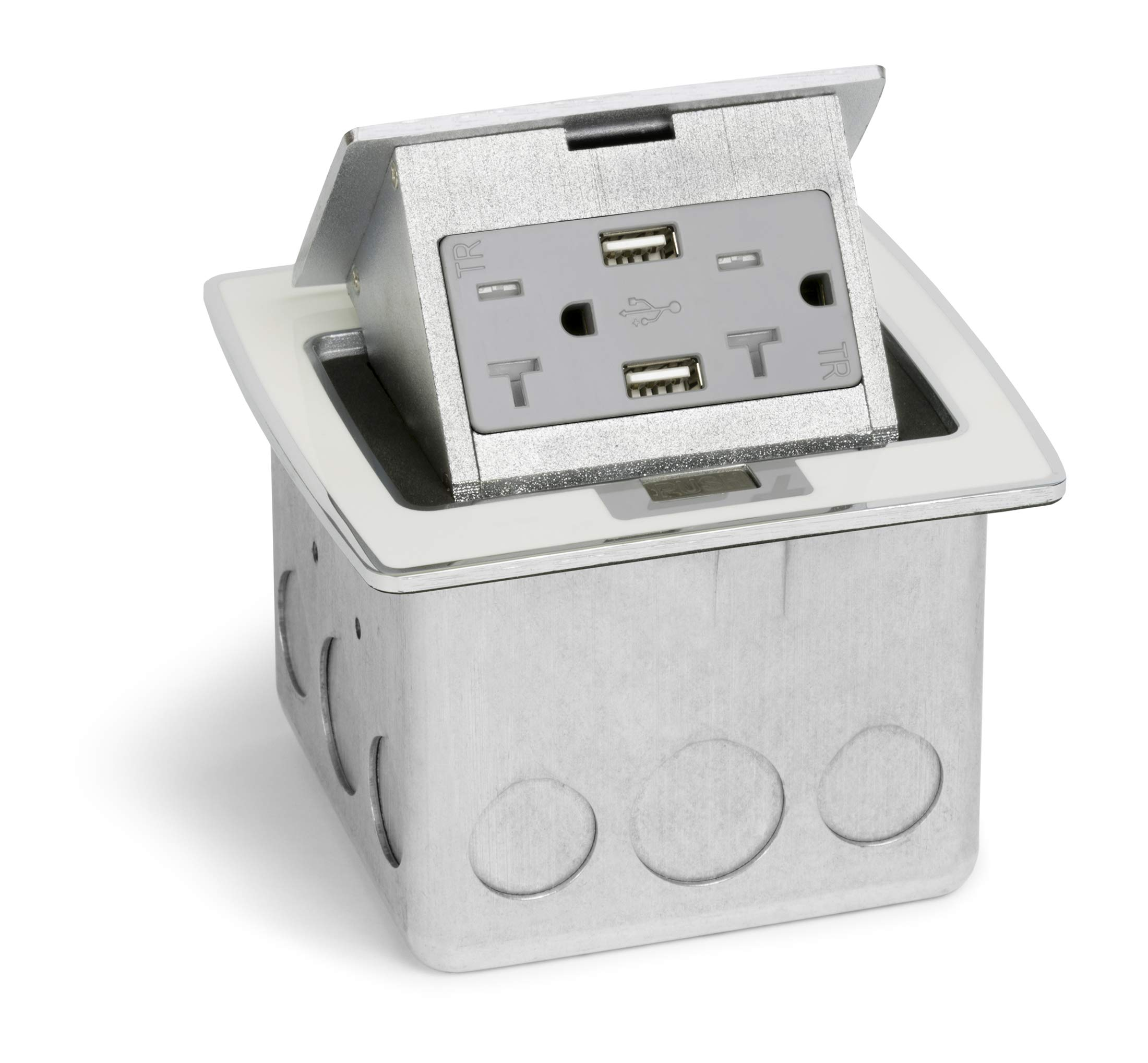 Lew Electric PUFP-CT-OW-20A-2USB Kitchen Countertop Pop Up 20A Outlet with USB Charging- Off White