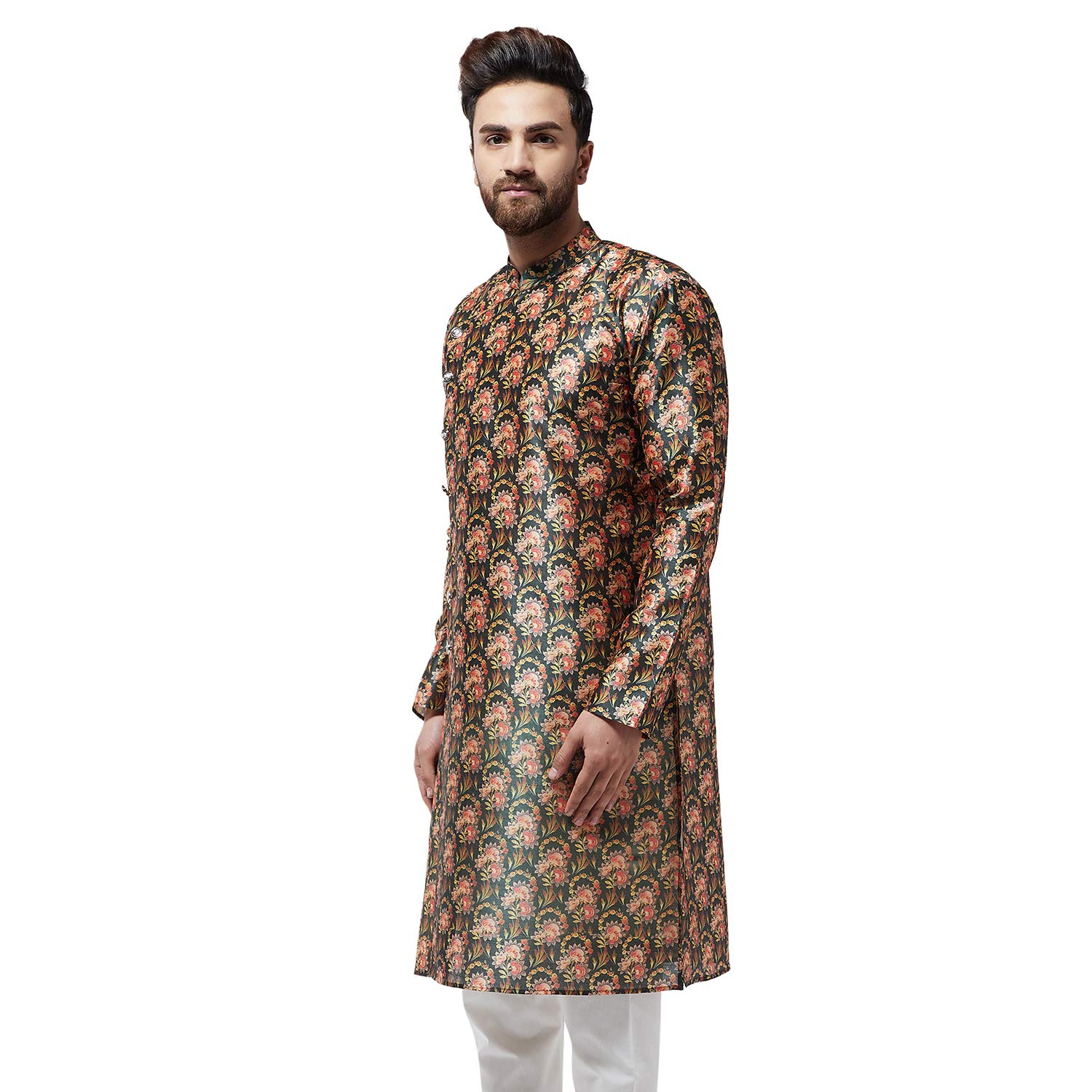 Festival-Men-Dupion-Silk-Kurta-Pajama-Ethnic-Party-Wear-Bollywood-Dress-Pyjama thumbnail 5