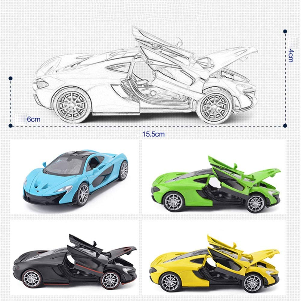 Ycco Toy Car Alloy Pull Back Cars with Sound and Light Kids Toys Simulation Diecast car model collection light/&sound Red color packaging Model McLoaren P1-Blue