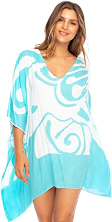 Back From Bali Womens Loose Beach Dress Cover Up Short Poncho Butterfly  Aqua at Amazon Women's Clothing store
