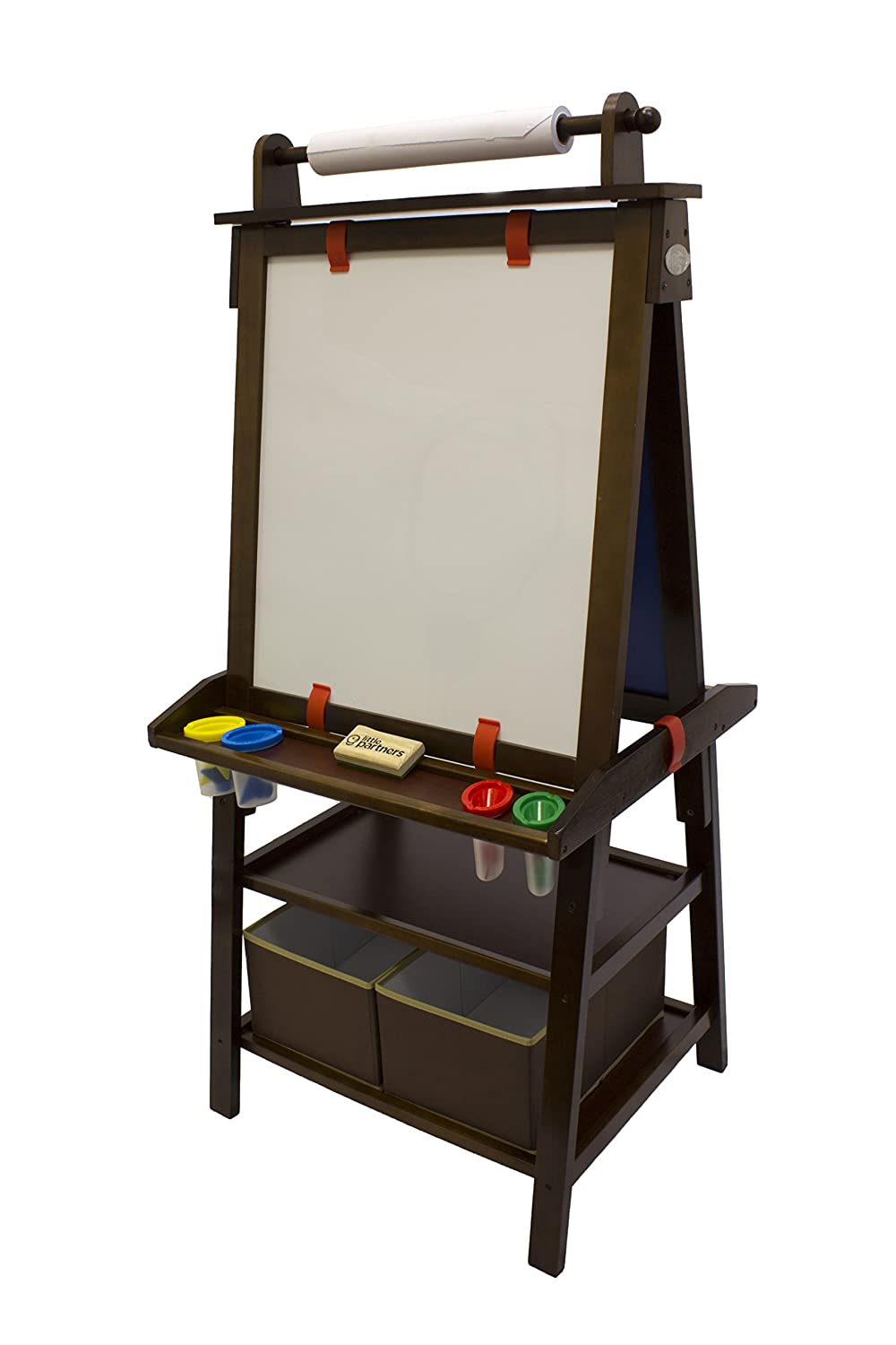 Two Sided A-Frame Paint Easel, Chalk Board & Magnetic Dry Erase - w/ Storage, Supply Holder & Paper Feed