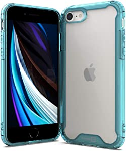 CoverON Slim Cover Designed for Apple iPhone SE CASE (2020) / iPhone 8 Case, Crystal Clear Hard Back Soft TPU Bumper Grip - Blue
