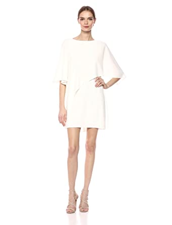 5967f724649a4f Halston Heritage Women's Flowy Sleeve Boat Neck Asymmetrical Drape Dress,  Chalk, ...