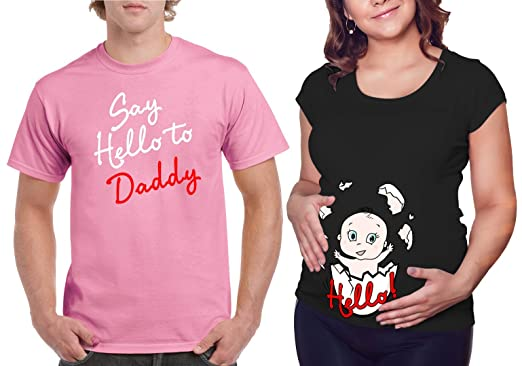 168b2eb1 Matching Maternity Couple Shirts - Say Hello to Daddy T Shirt - Cute  Pregnancy