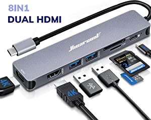 Docking Station,4K USB C Laptop Docking Station,Hiearcool 8 in 1 Triple Display Dual HDMI Type C Adapter Compatiable for Thunderblot3 MacBook and Windows(2HDMI PD SD/TF Card Reader 2USB)