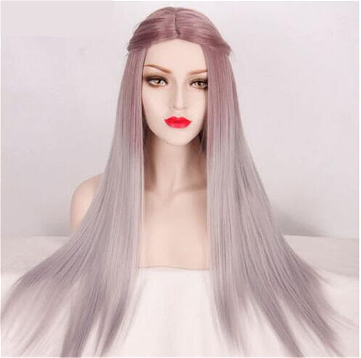 Cool2day®Long Hair Grey Ombre Womens Ladies Wigs Straight Hair Full Head Wigs Elegant Middle Part Pretty Wigs For Women Cosplay Wig JF012017