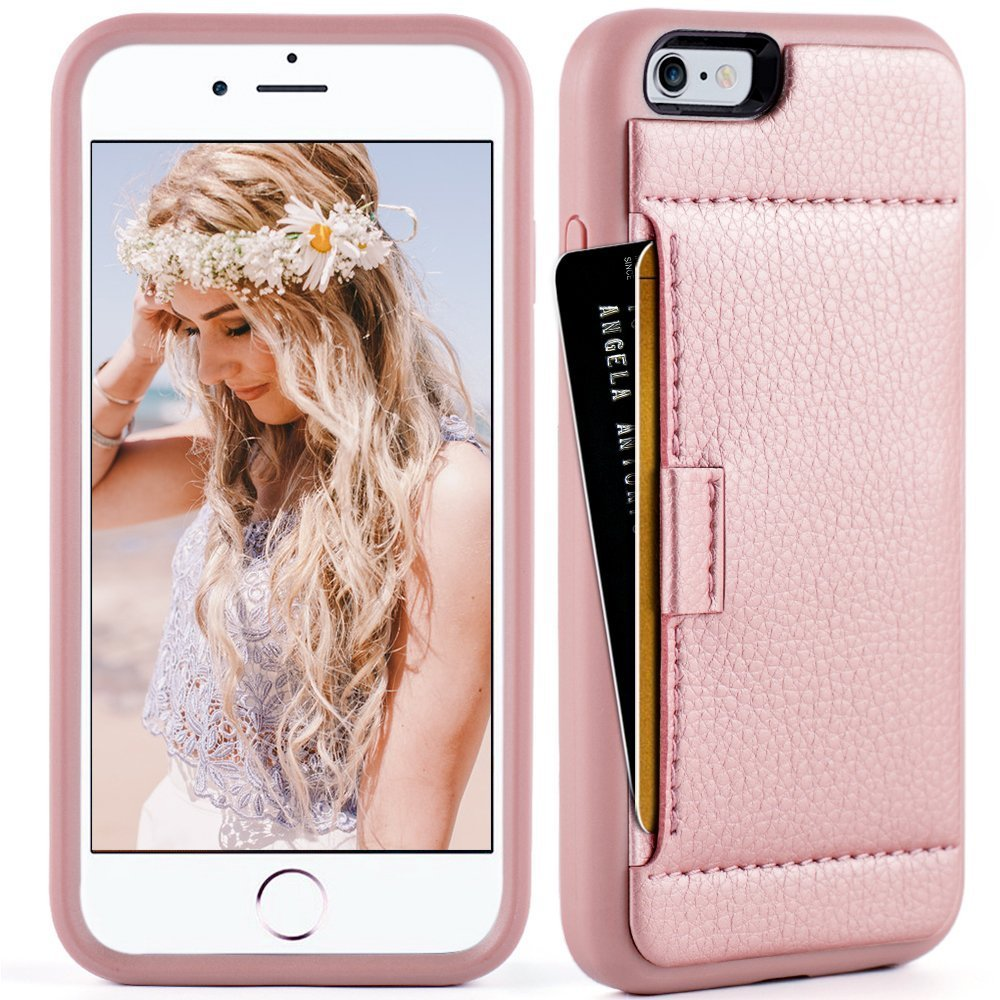 iphone 6 Wallet Case,iphone 6 case with card holder, ZVE iphone 6s case Slim with wallet Credit Card Holder Shockproof Protective hybrid Leather Case For Apple iPhone 6/6s 4.7 inch (Rose Gold)