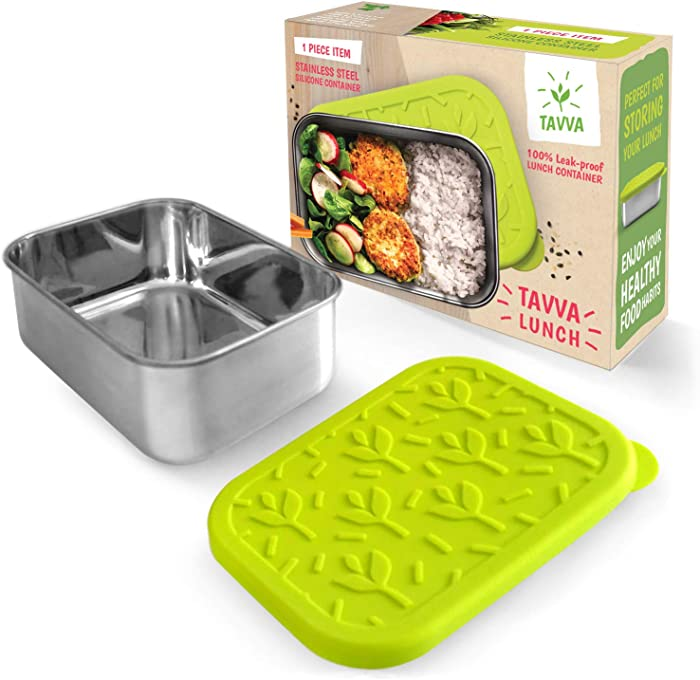 TAVVA Stainless Steel Food Container 23oz - Plastic Free Silicone Lid - Leakproof Lunch Container - Reusable - Dishwasher Safe - Also Suitable as Kids Lunch Box, Toddler Lunch Box, Sandwich Container…
