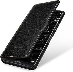 StilGut Book Type Case, custodia per Huawei Mate 10 Pro a libro booklet custodia orizzontale, cover apertura laterale in vera pelle, Nero con Clip