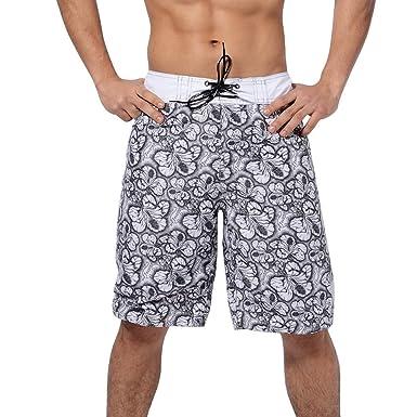 b7ffa5a266 OrchidAmor Men's Summer Fashion 3D Printed Shorts Recreational Sports Beach  Pants Black