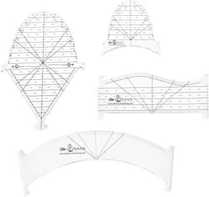 A set of 4 acrylic fan stencils for quilting or paper craft