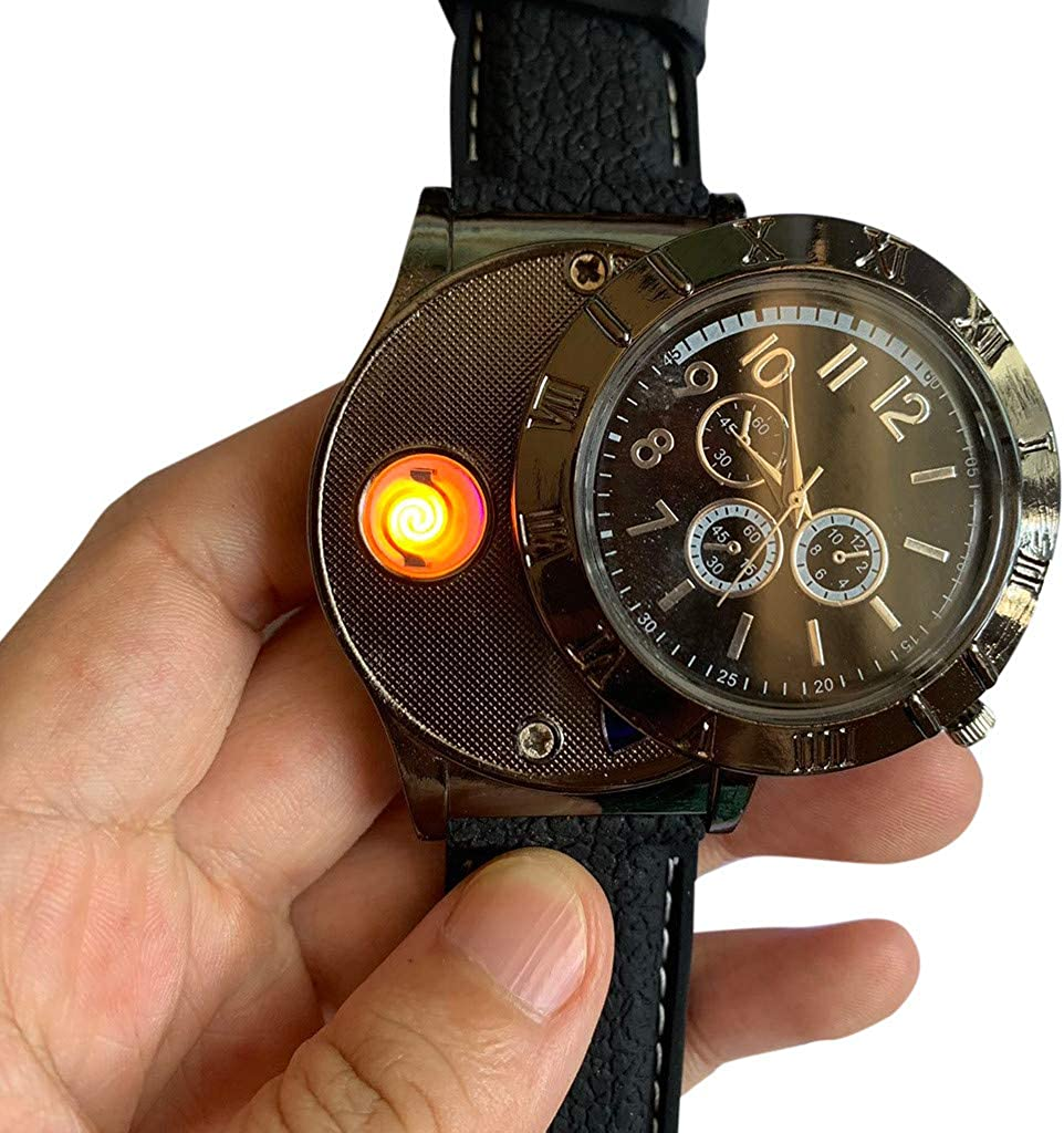 ღLILICATღ Reloj de Mechero 2 En 1 Recargable Sin Llama Reloj de Llama A Prueba de Viento, Reloj Grande para Hombre Caballero Encendedor de Cigarrillos, Multicolor