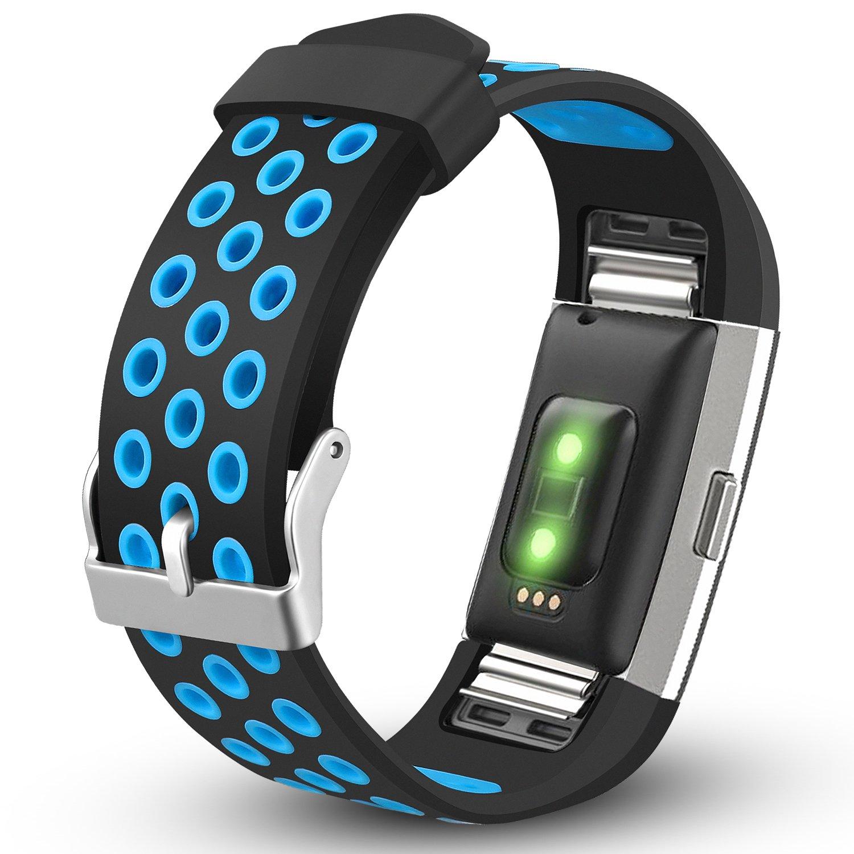 For Fitbit Charge 2バンド、ihillon調節可能な交換用バンドスポーツストラップfor Fitbit Charge 2 Smart Fitness Watch , Small Large (トラッカーなし) B079HQGWKL Small|ブラック/ブルー ブラック/ブルー Small