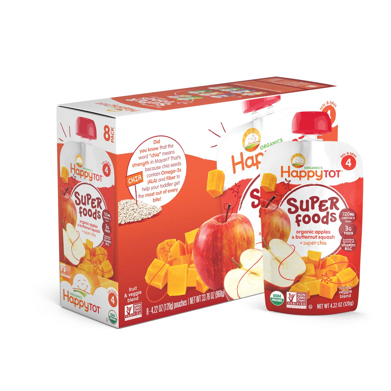 Happy Tot Organic Stage 4 Super Foods Apples & Butternut Squash + Super Chia 4.22 Ounce (Pack of 16), Non-GMO, Gluten Free, 3g of Fiber, Excellent source of vitamins A & C