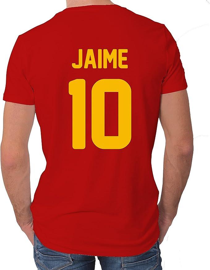 LolaPix Camiseta España Personalizada con tu Nombre y Dorsal   Selección Española   Varios Diseños Tallas   100% Algodón   Hombre   Roja: Amazon.es: Hogar