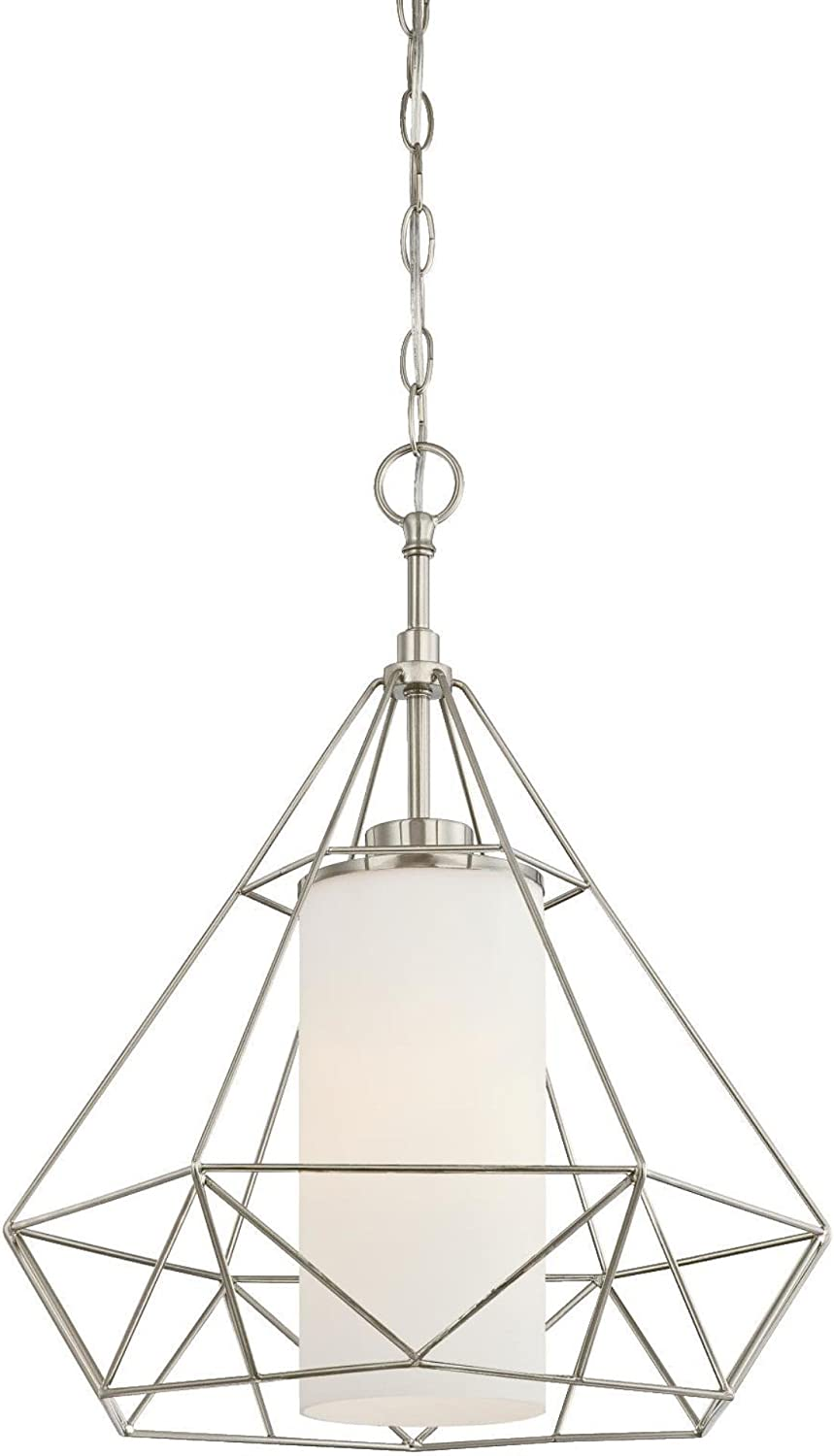 Westinghouse Lighting 6324500 One-Light Indoor Pendant, Brushed Nickel Finish with Frosted Opal Glass
