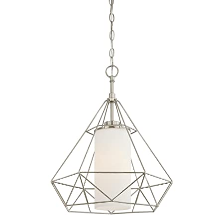 Westinghouse Lighting 6324500 One-Light Indoor Pendant, Brushed Nickel Finish with Frosted Opal Glass,