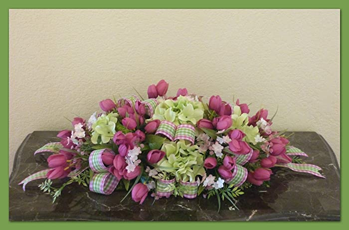 Amazon easter table centerpiece spring flower arrangement easter table centerpiece spring flower arrangement green hydrangea centerpiece mightylinksfo