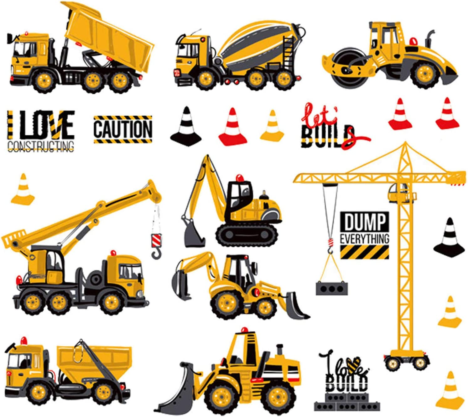 City Construction Cartoon Baby Boy Wall Decals Excavator Decorative Wall Stickers Vinyl Peel Stick Gifts for Kids Boys Nursery Bedroom