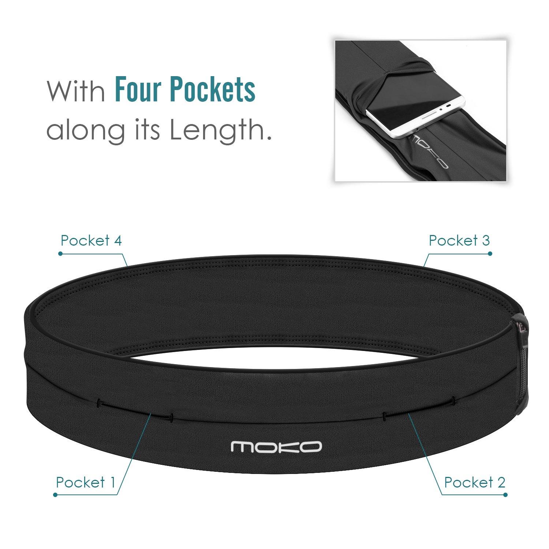 336afa57e814 Details about MoKo Running Belt Waist Pack Outdoor Sports 4 Pocket Pack  Fitness Workout Bag
