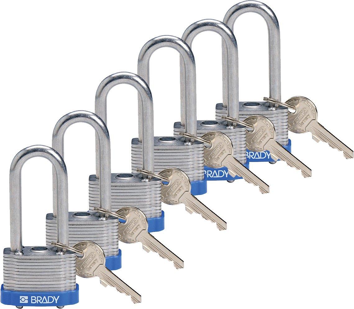 Brady 118974 Blue, Key Retaining Steel PadLock - 2'' Shackle - Keyed Alike (6 Locks)