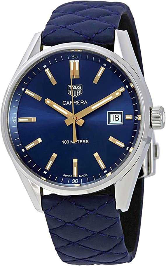 Amazon.com: TAG Heuer Mens Carrera Blue Leather Strap and ...