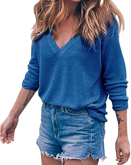 Mujeres Blusas Elegantes Manga Larga V Cuello Camisetas Suelto Basicas Fiesta Tops Otoño Primavera Casual Blusones Color Sólido T-Shirt: Amazon.es: Ropa y ...