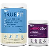 AminoLean Pre Workout Energy (BlackBerry Pomegranate 30 Servings) with TrueFit Protein Powder (Vanilla 2 LB)
